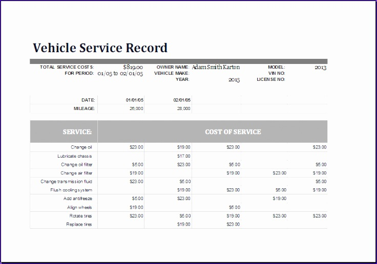 Maintenance Quotations Jnsbc Luxury Ms Excel Vehicle Service Record Log Template
