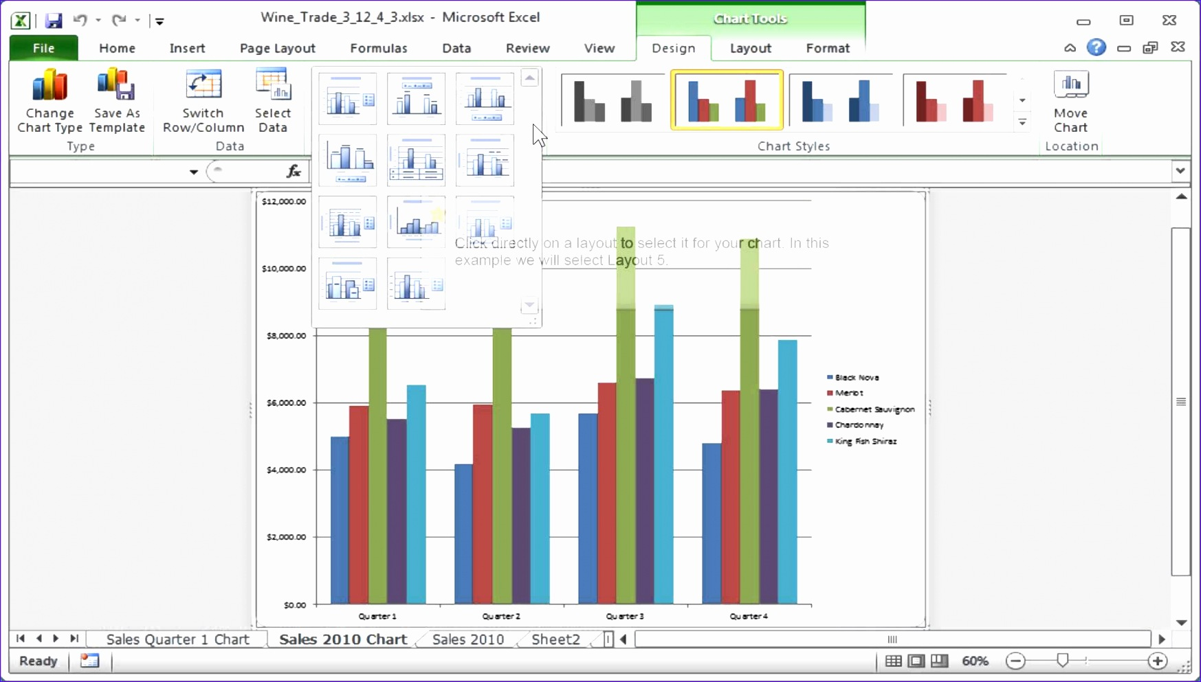 excel creat chart layout and style templatesml