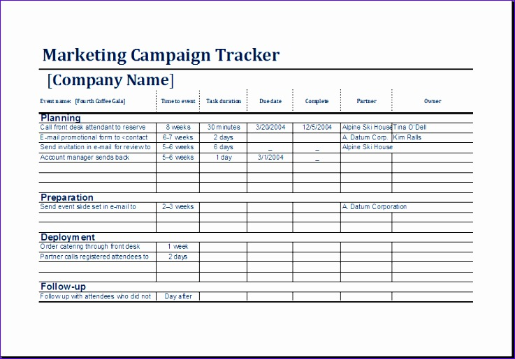 campaign schedule template 8 marketing campaign tracker exceltemplates exceltemplates