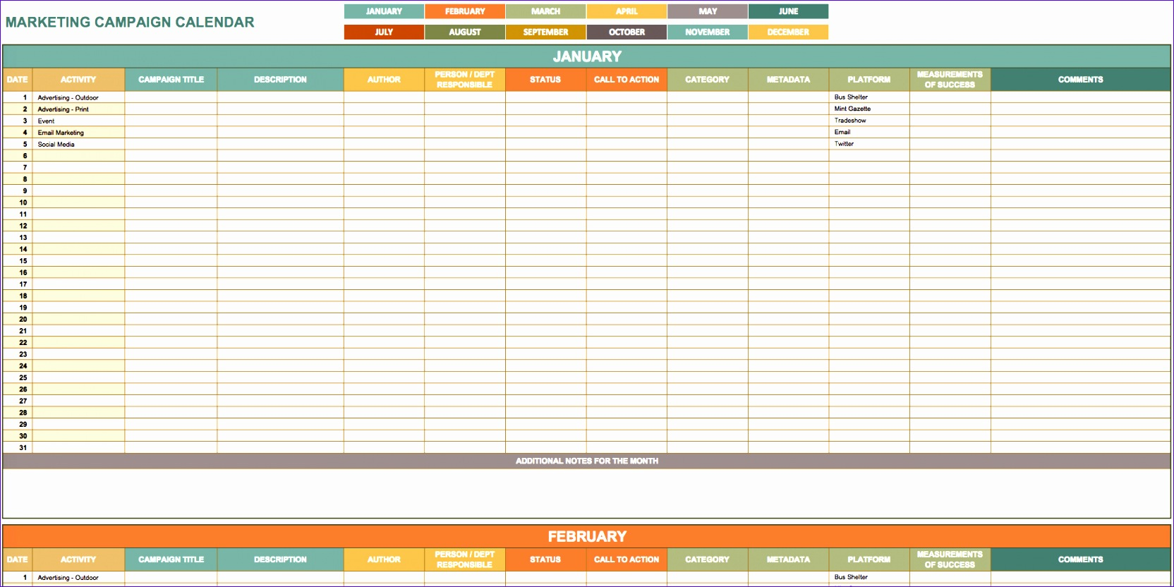 Media Schedule Template Excel Egese New 9 Free Marketing Calendar Templates for Excel Smartsheet