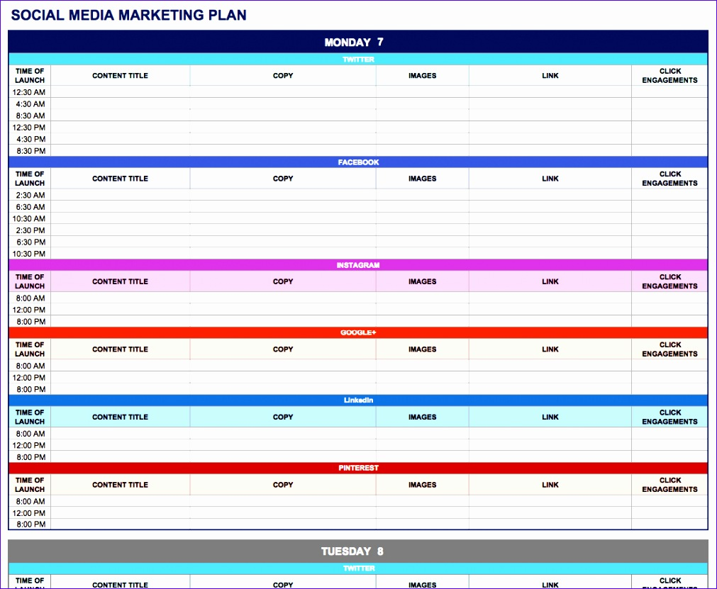 Media Schedule Template Excel Icxdj Awesome Free Marketing Plan Templates for Excel Smartsheet