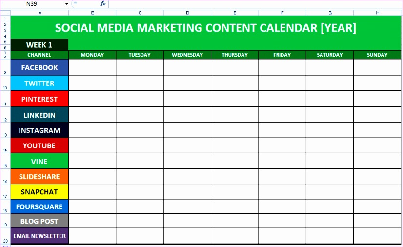Media Schedule Template Excel Vwnvv Fresh social Media Content Calendar Template Excel