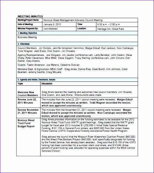 project meeting minutes template 10 word excel pdf format regarding meeting minutes template doc