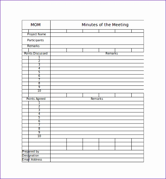 8 Meeting Minute Template Excel