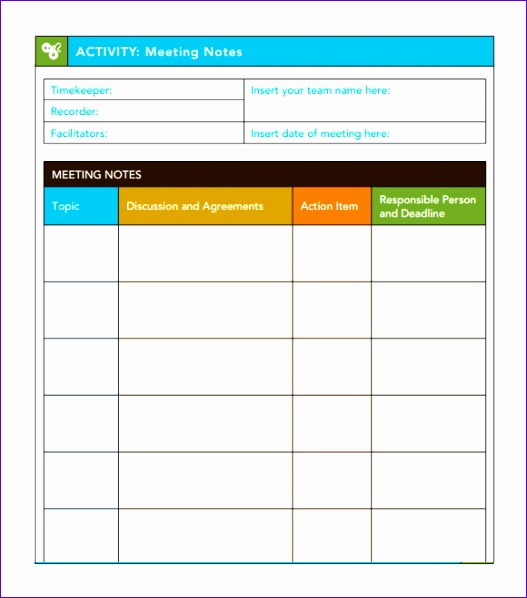 Meeting Notes Template Excel T7sne Unique 7 Free Meeting Minutes Templates Excel Pdf formats