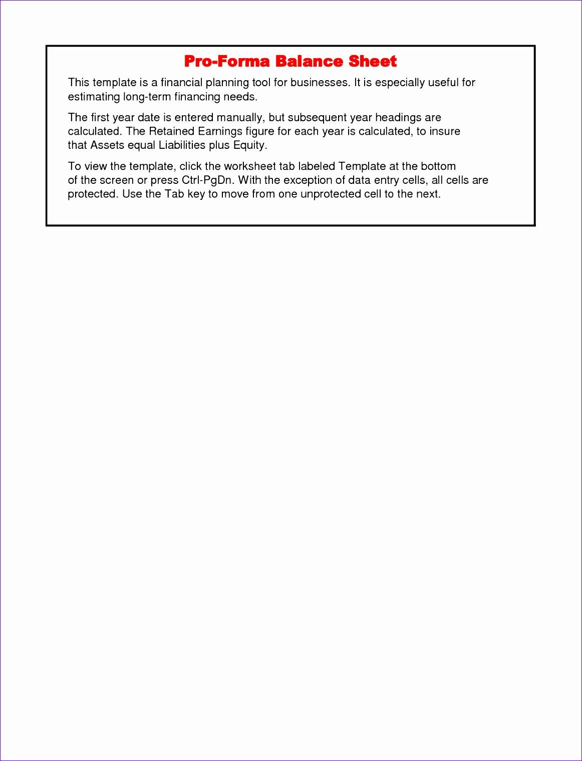 pro forma balance sheet template 1