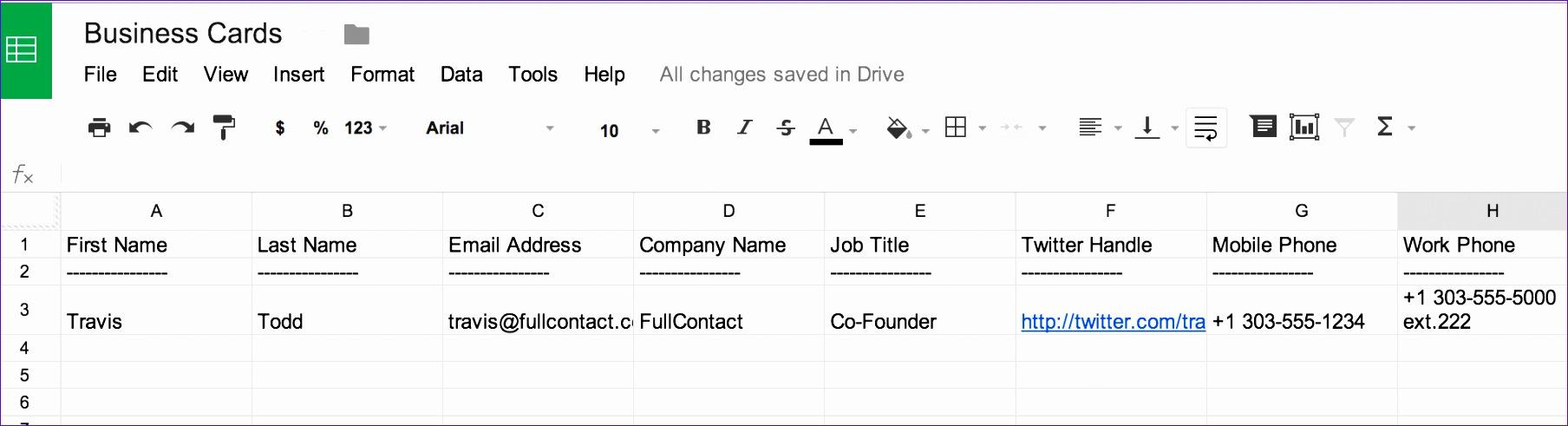 business card data in spreadsheet