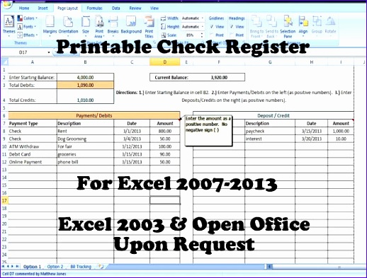 11 microsoft excel check register template