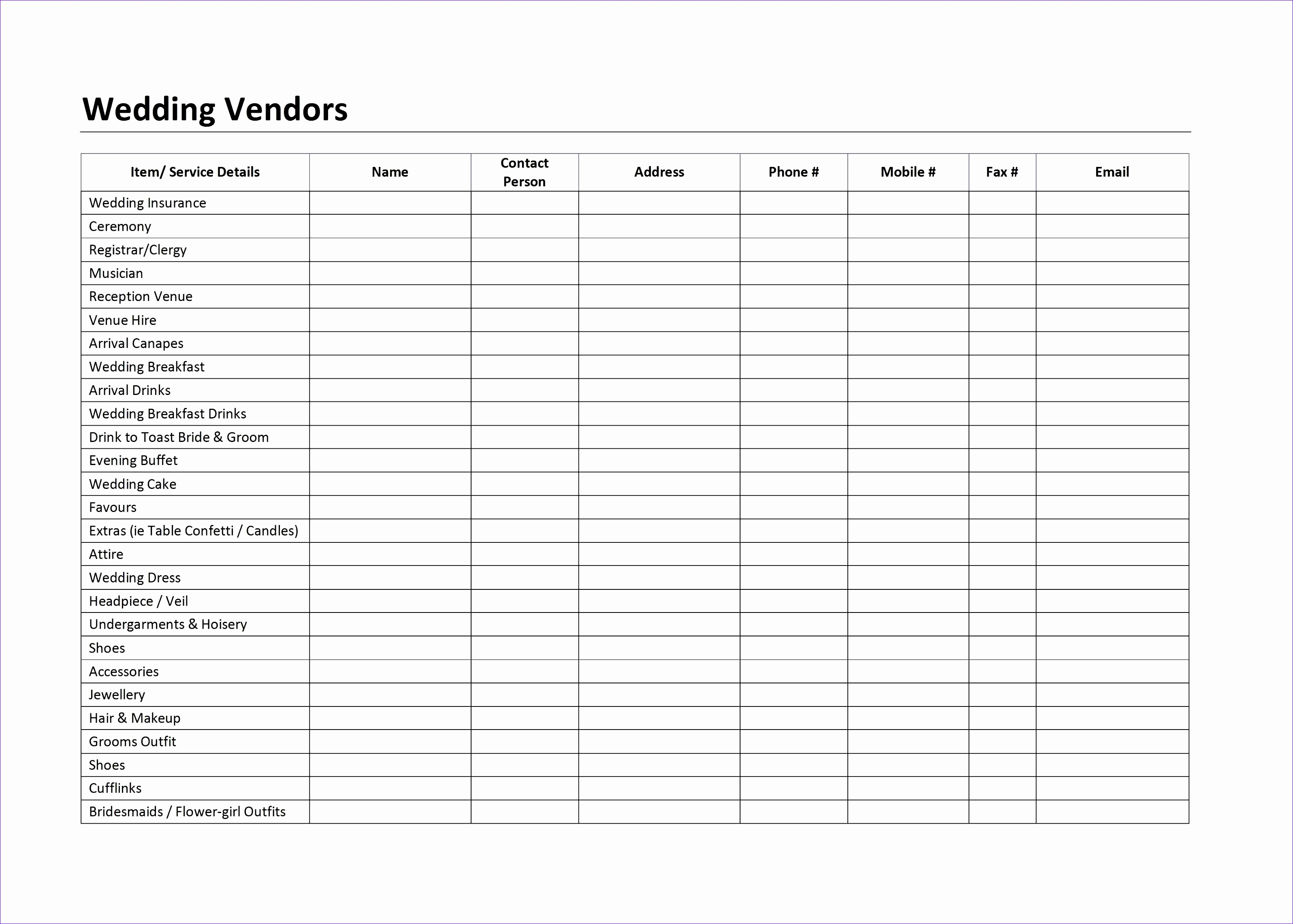 wedding bud planner spreadsheet uk