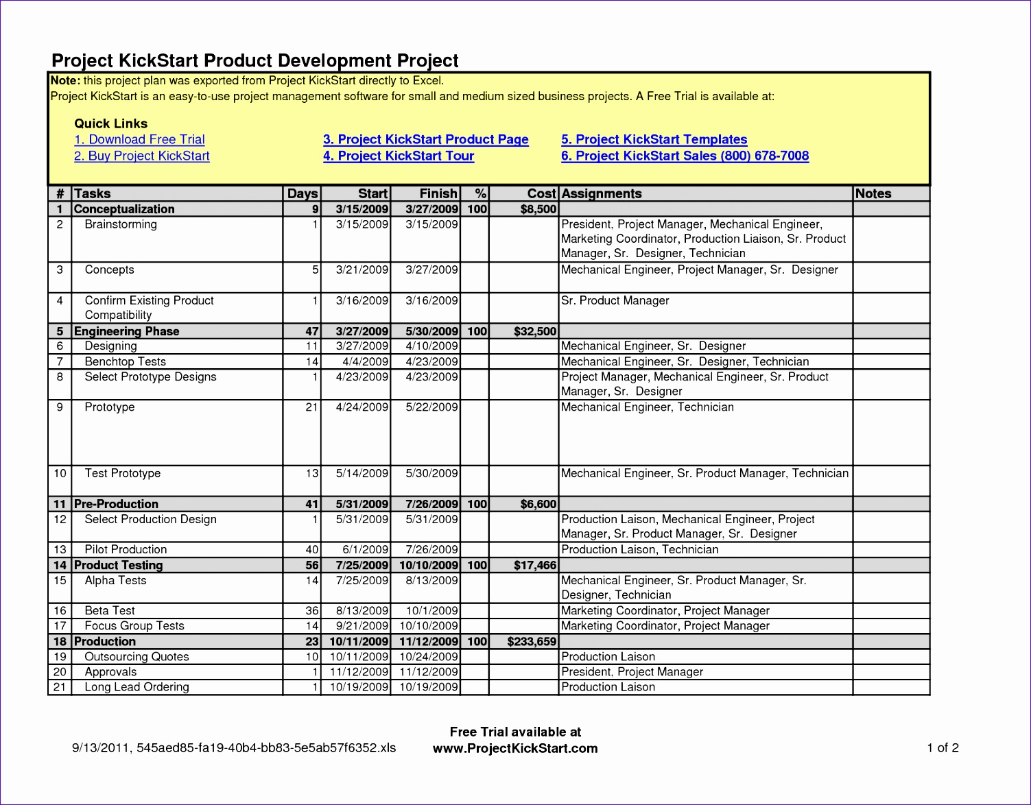 project planning template excel