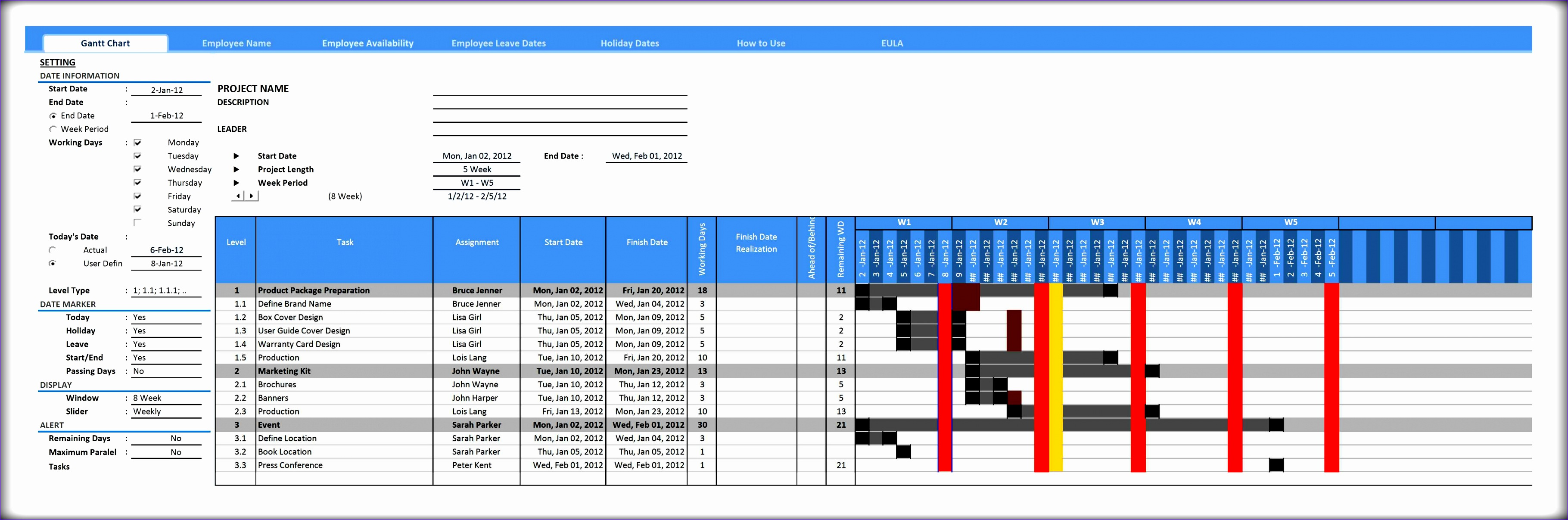 7 microsoft excel gantt chart template free download