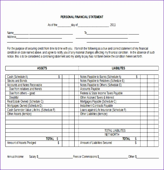 Personal In e Statement Template in MS Word Document