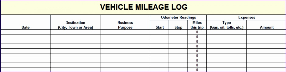 Microsoft Excel Mileage Log Template iflgx Fresh Vehicle Mileage Log Template Excel