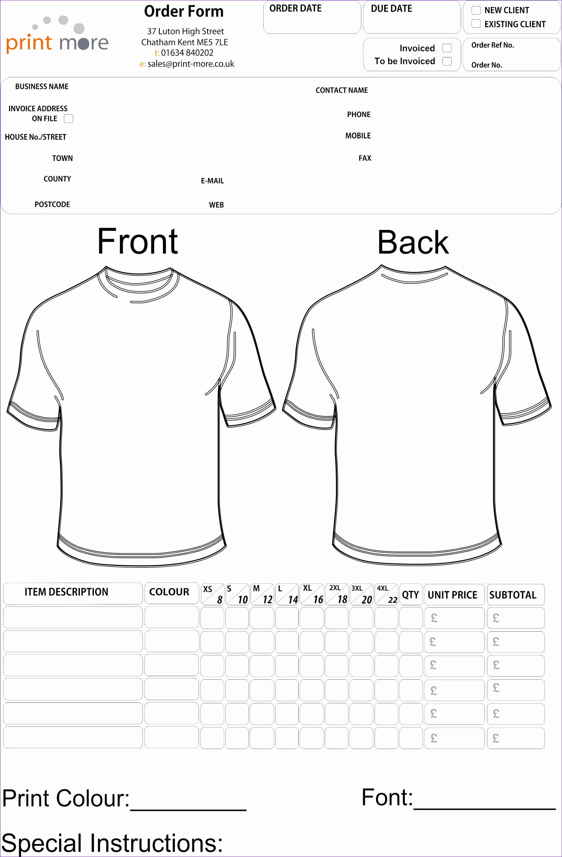 Microsoft Excel order form Template Zctfm Fresh T Shirt order Lareal