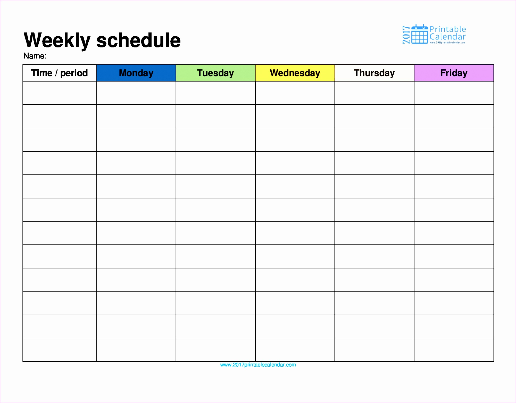 weekly schedule monday to friday in color