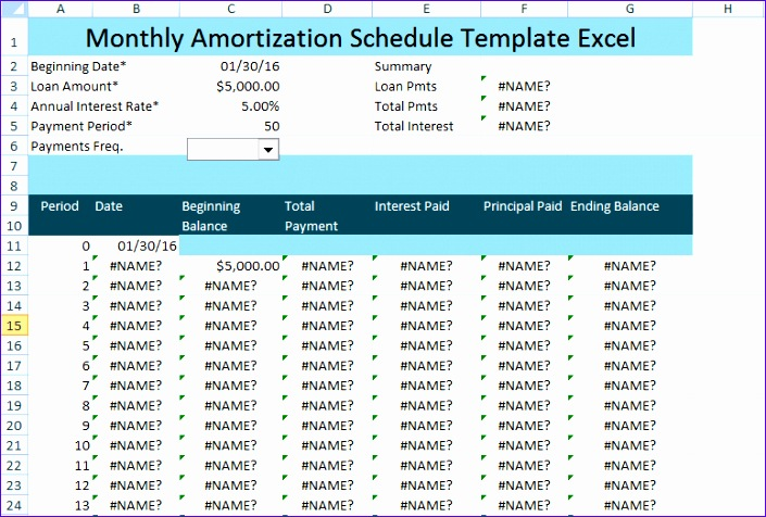Year Amortization Schedule Excel  BesikEightyCo