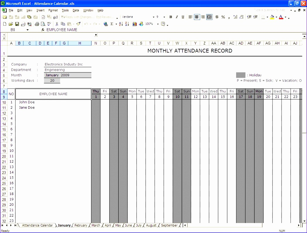 attendance sheets excellent monthly attendance sheet record template for employee with pany information and grey color for holiday