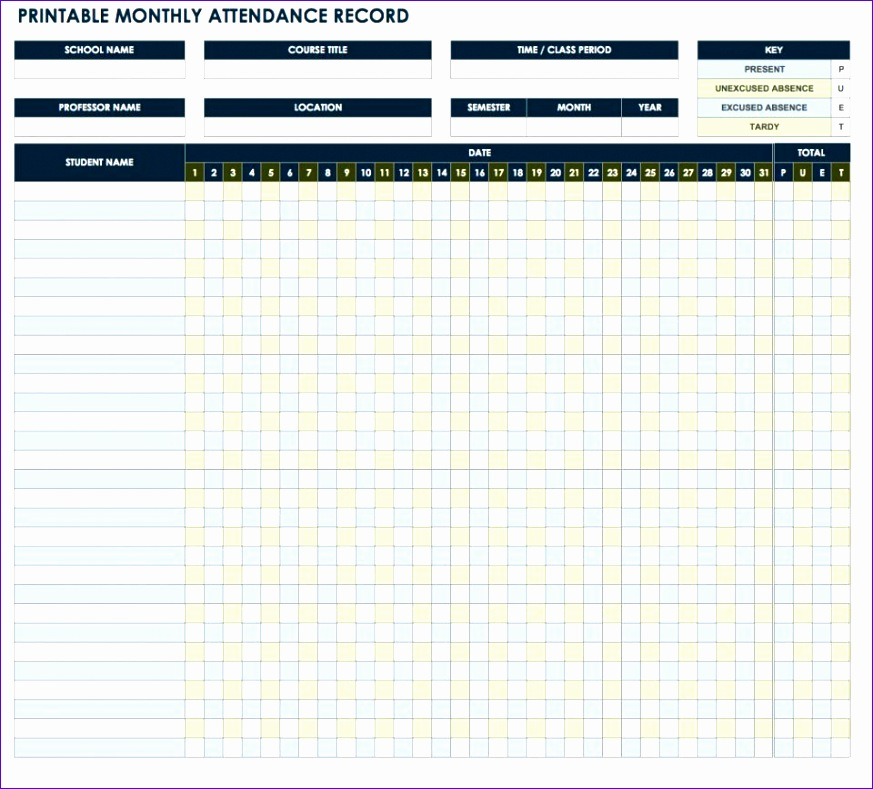 Monthly attendance Sheet Template Excel Y3xey Lovely Free attendance Spreadsheets and Templates