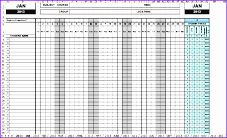 Monthly attendance Sheet Template Excel Yjece Luxury attendance Sheets 2013