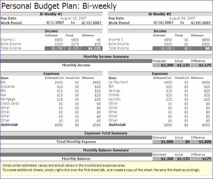 Monthly Budget Template Excel 2007 Tvqjj Inspirational Free Biweekly Bud Excel Template A Home Of My Own
