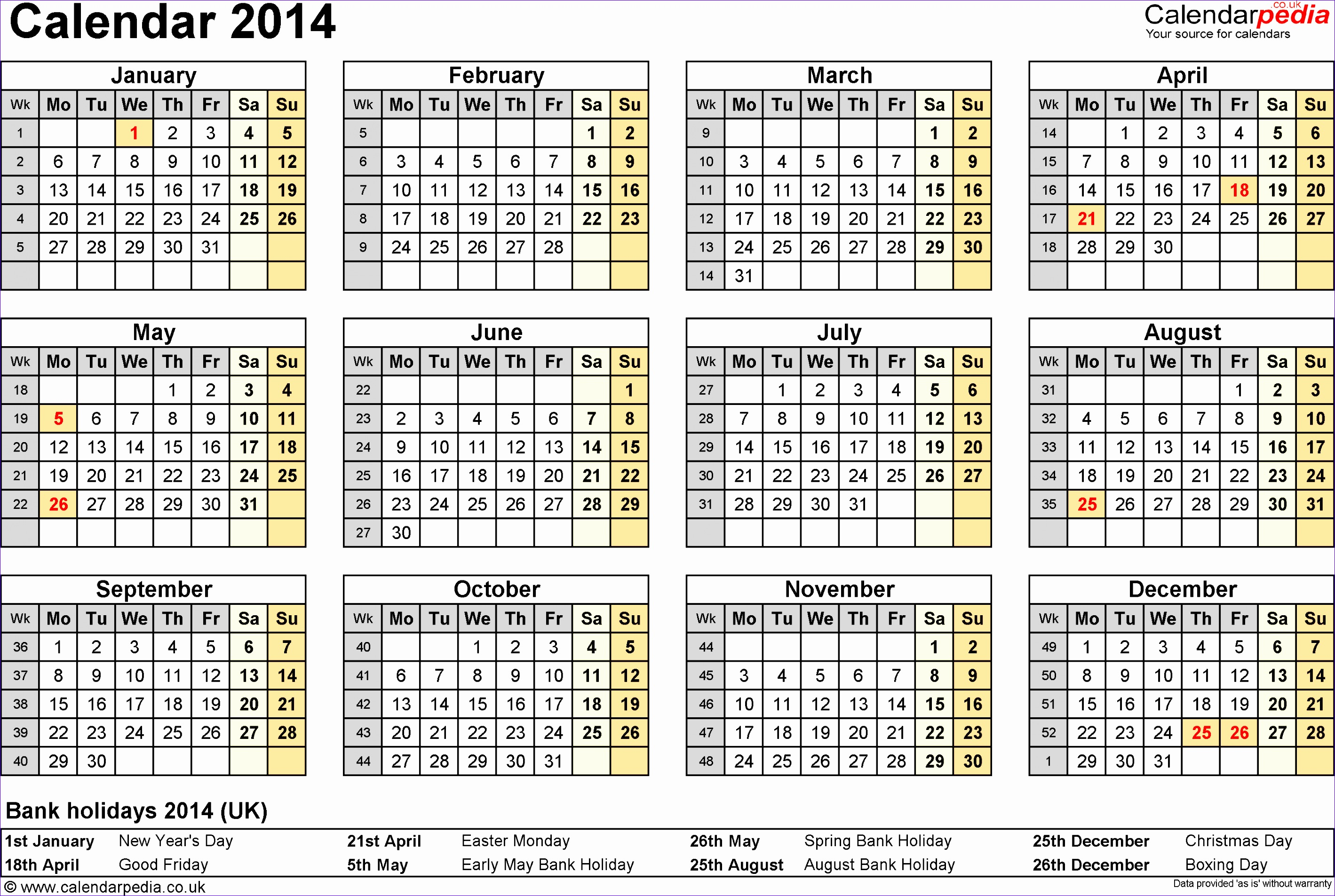 7 monthly calendar excel template 2014 exceltemplates for Yearly planning calendar template 2014