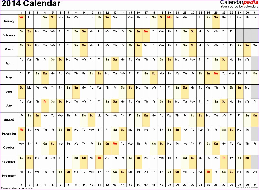 7 Monthly Calendar Excel Template 2014 Exceltemplates Exceltemplates