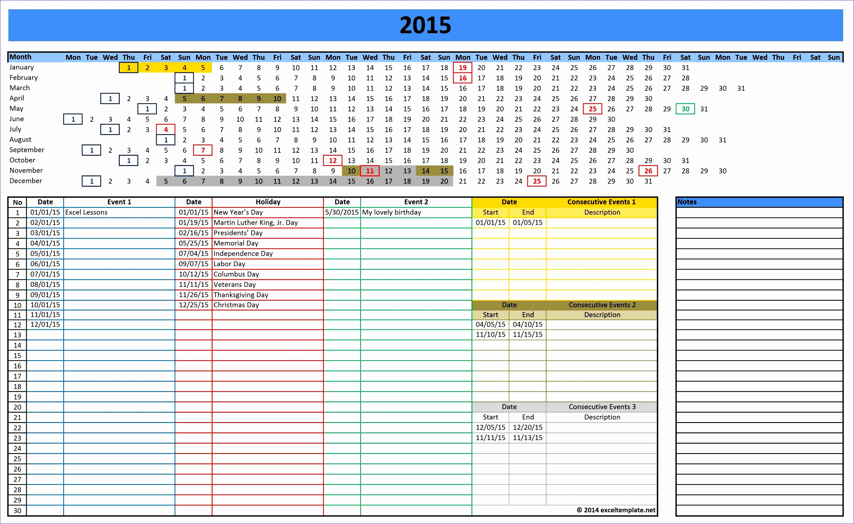 7 monthly calendar excel template 2014