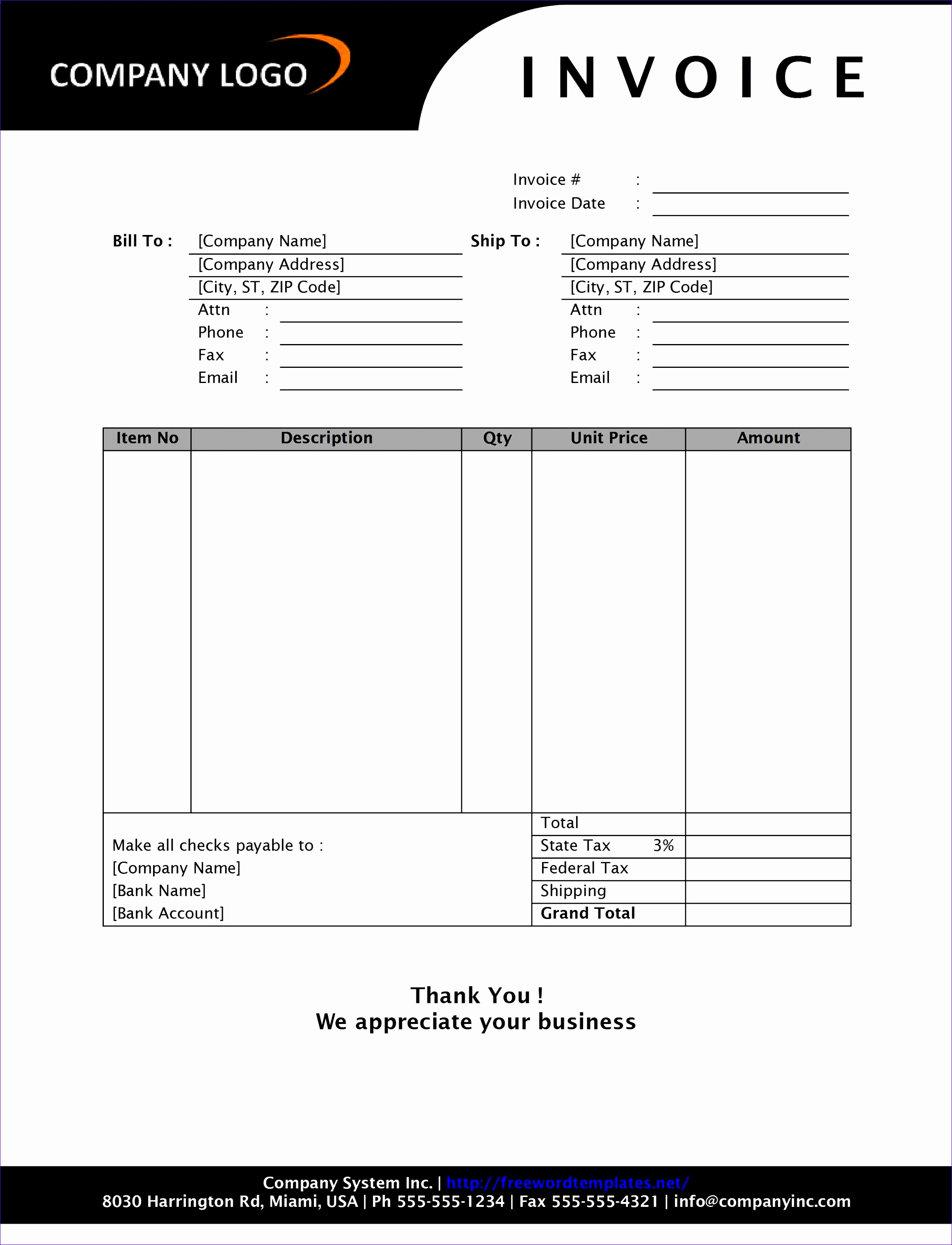 how to format an invoice