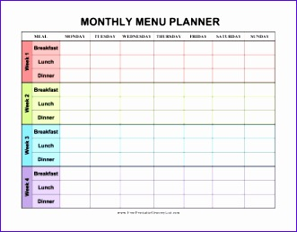 Monthly Meal Planner Template Excel Jsyua Awesome Four Weeks are Decorated In Different Colors In This Monthly Menu