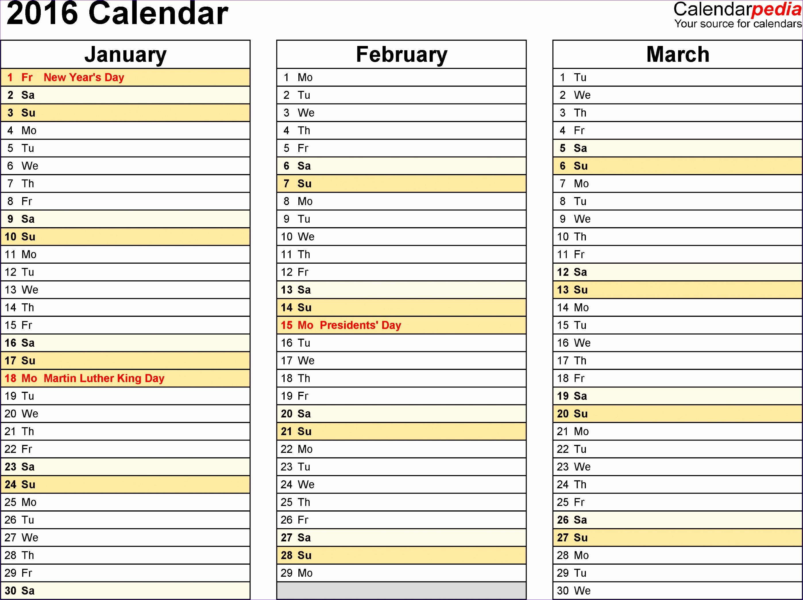 2016 calendar 4