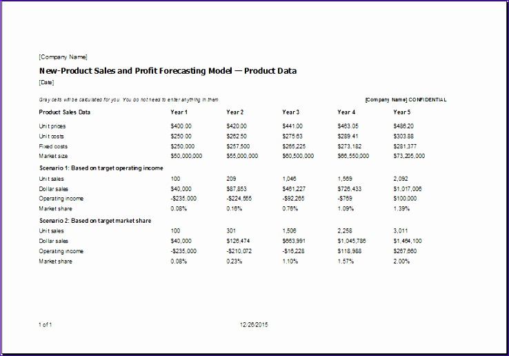 Monthly Sales Report Template Honhb Beautiful New Product Sales and Profit forecasting Model Template