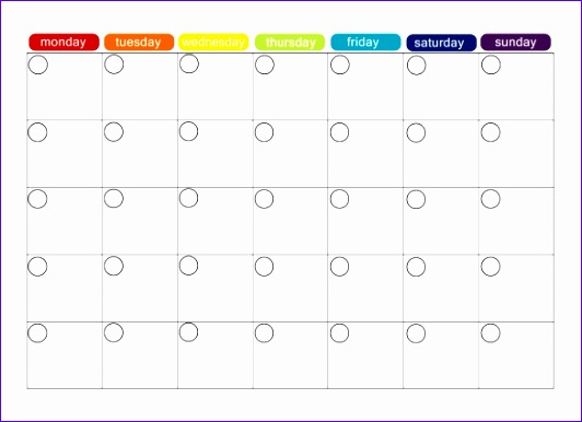 Printable Monthly Menu Schedule Template