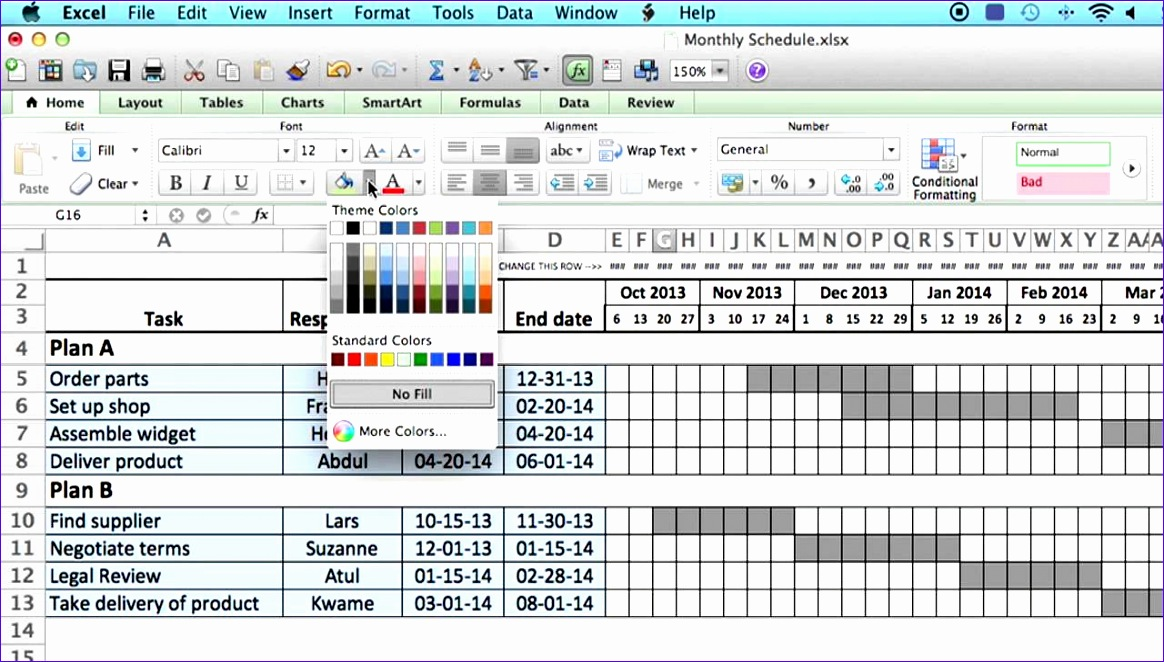 Microsoft Excel Timetable Template