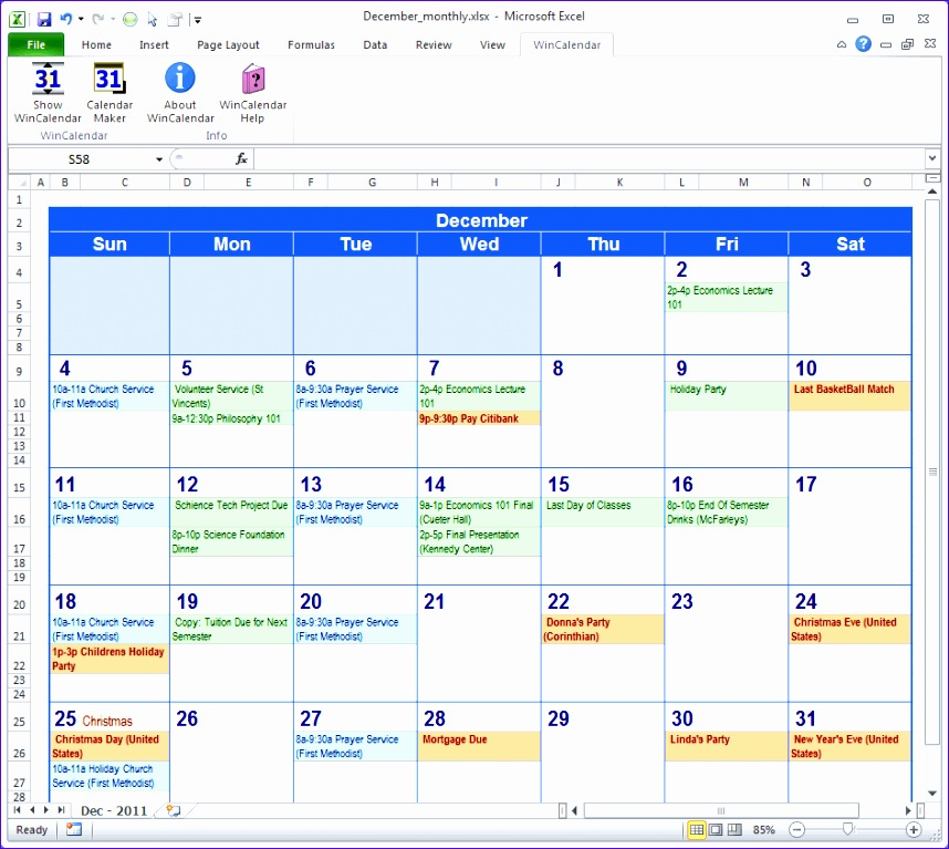 Calendar with Events
