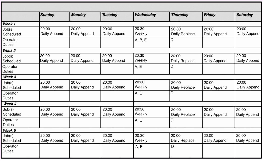 monthly employee work schedule template excel
