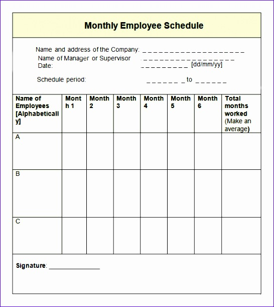 Monthly Employee Schedule Template1
