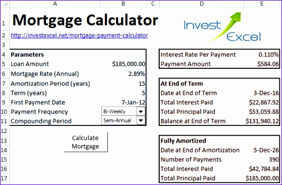 Mortgage Payment Calculator Excel Template  Exceltemplates