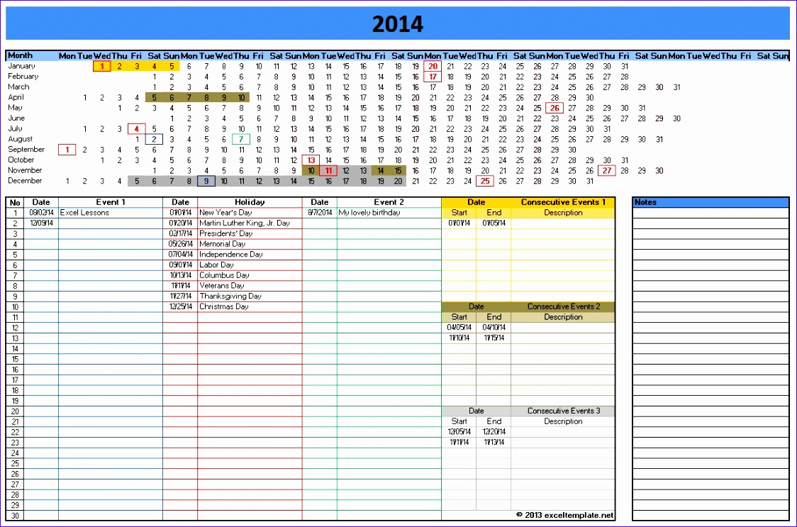 9 ms excel calendar template 2014 exceltemplates for Bodybuilding excel template