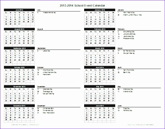 school event calendar template