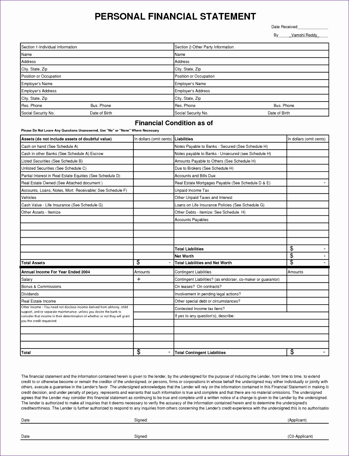 Financial Statement Template 333