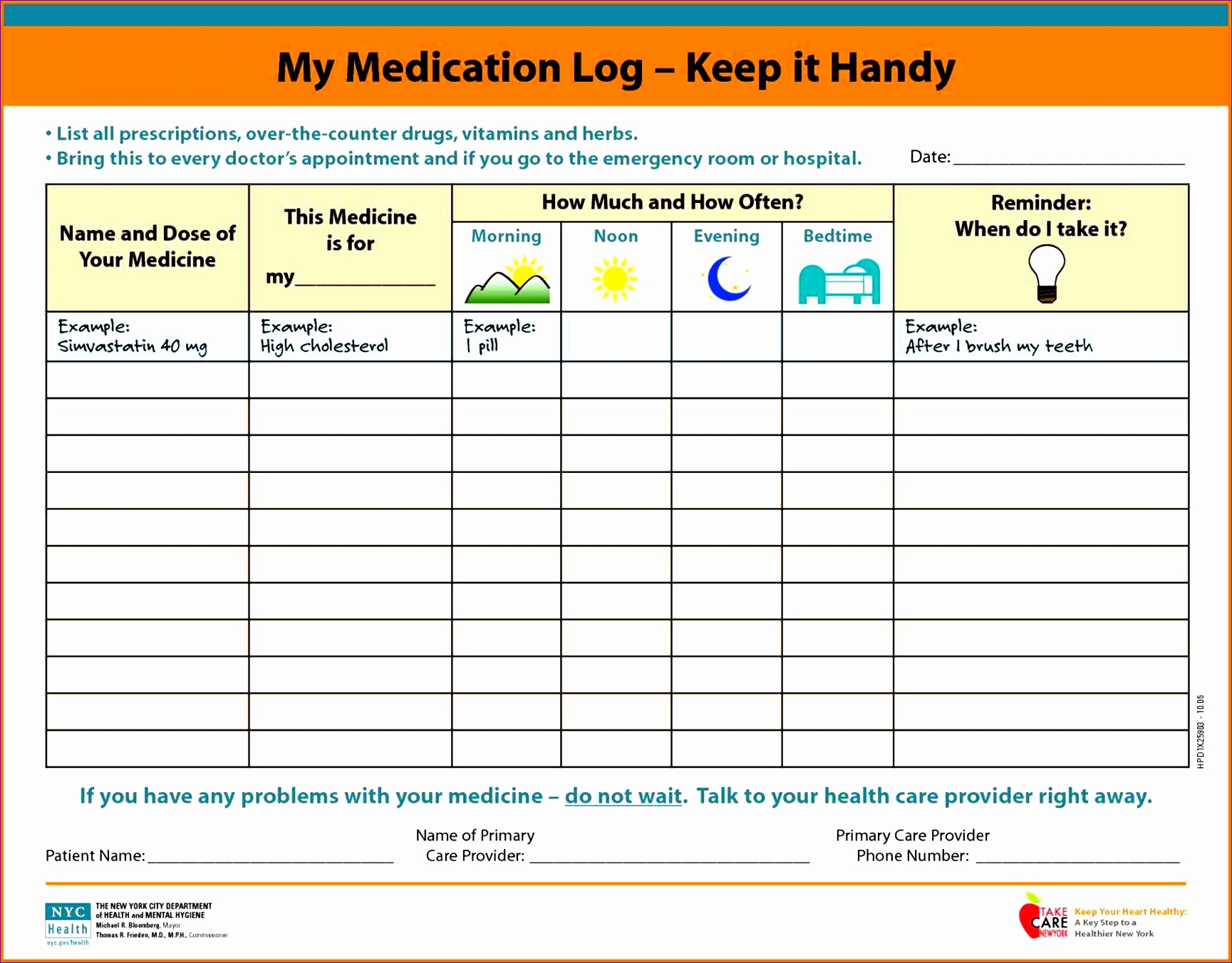 medication schedule template record sheet daily Free Printable Medication Log medication schedule template record sheet your sick childus care more children s