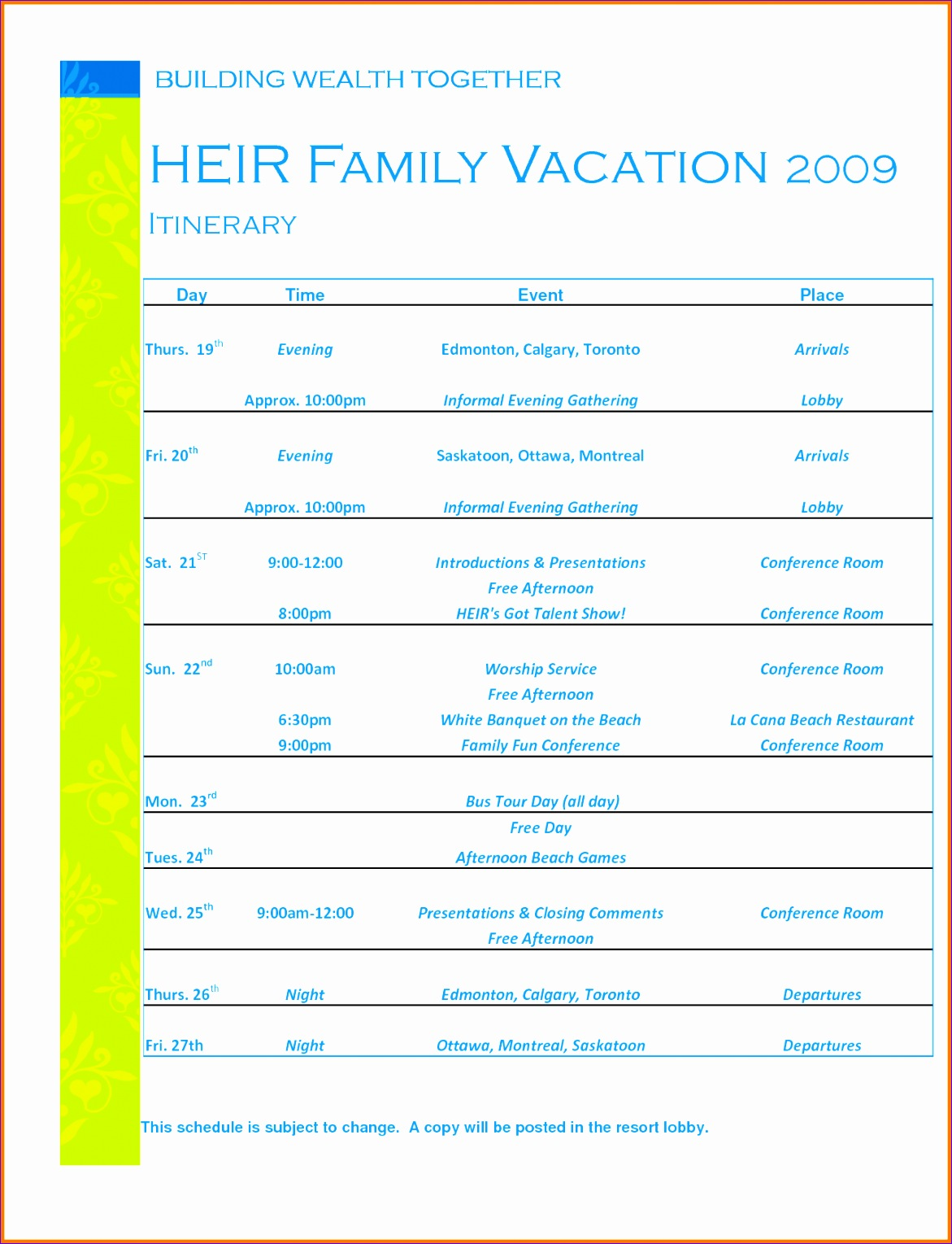 vacation itinerary template vacation itinerary template
