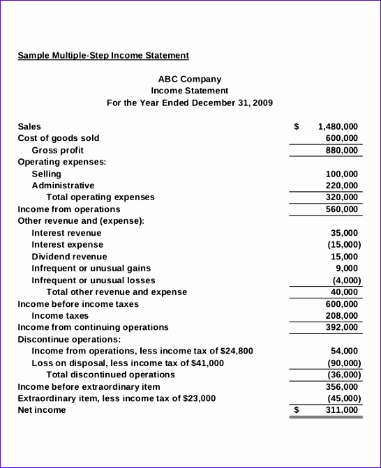 Multi Step Income Statement Excel Template Kfiyj Awesome Classified
