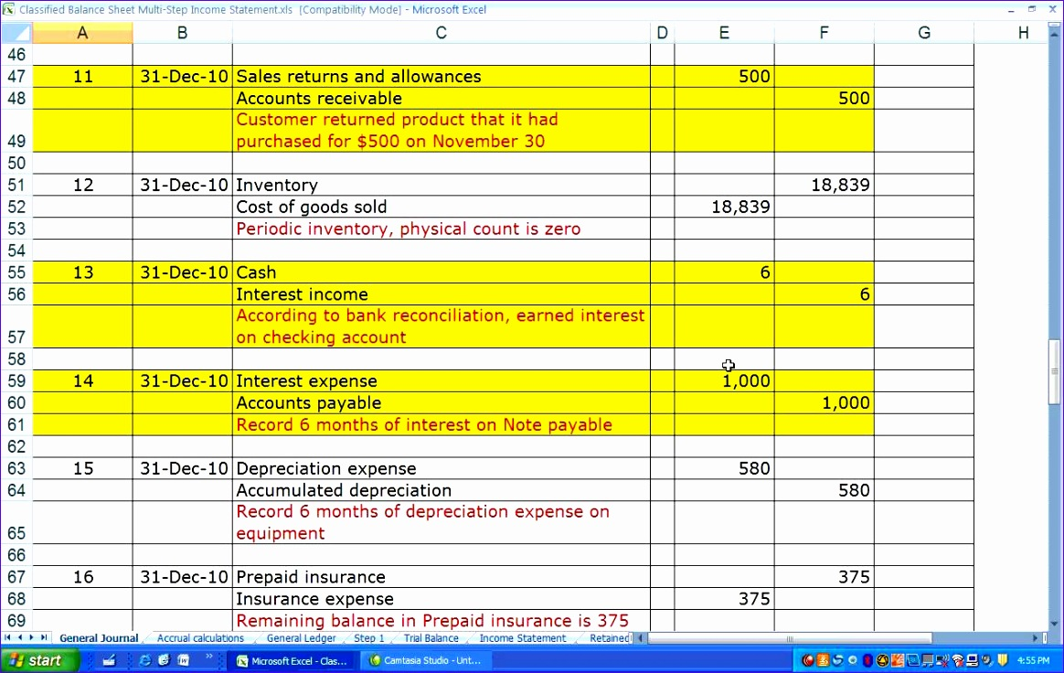 10 multi step income statement excel template
