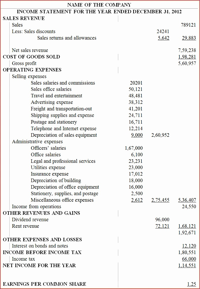 multi step income statement excel template - 10 multi step income statement excel template
