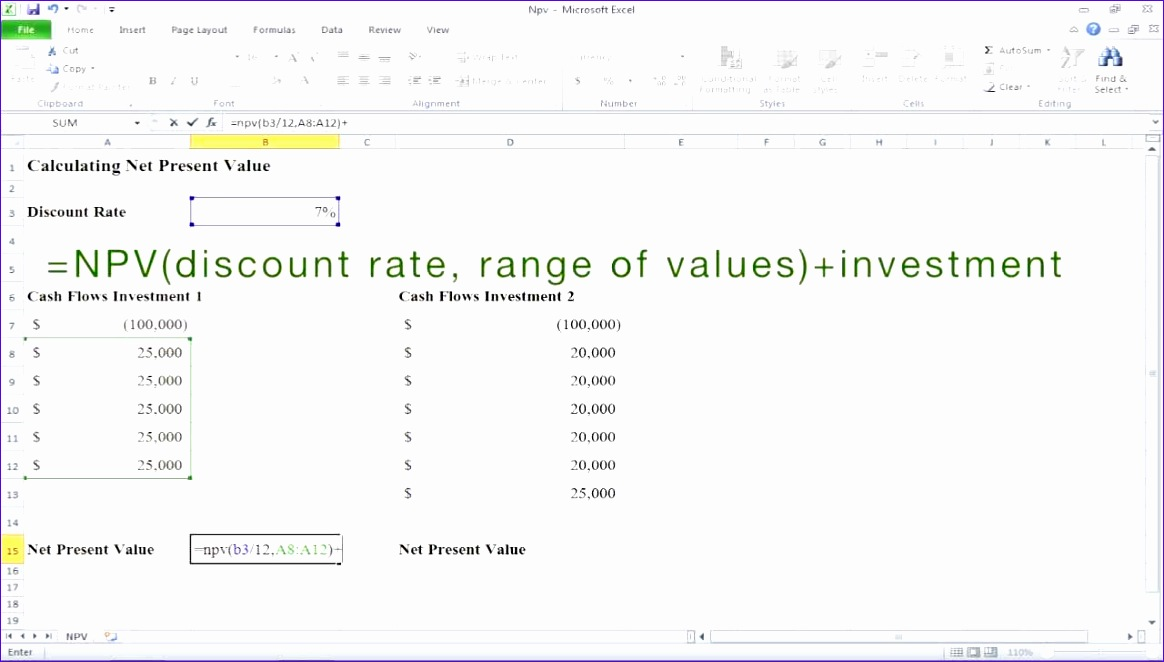 Npv Calculation Excel Template Jhilf Fresh How to Calculate Net Present Value Npv In Excel