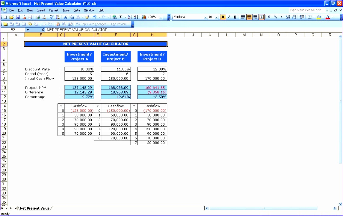 Npv Calculation Excel Template S3ued Beautiful Net Present Value Calculator