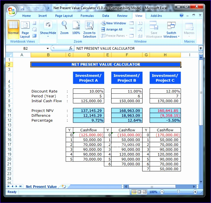 8 npv calculator excel template exceltemplates for Excel net present value template