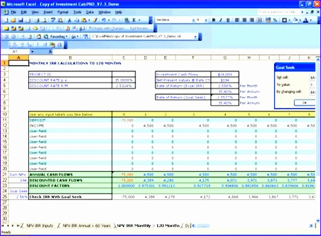 present value excel template investment calc npv irr analysis millennium model advisor