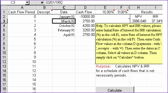 Npv Irr Excel Template Jcxbk Unique Npv & Irr Excel Template for Periodic Cash Flows